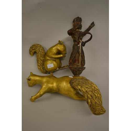 1598 - Antique carved wooden figural lamp holder, together with two 20th Century carved giltwood figures of...