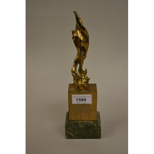 1599 - T. Easton, Limited Edition gilt bronze abstract figural sculpture No. 6 from an Edition of 9, mounte...