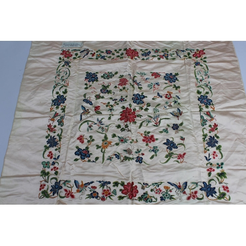 16 - Chinese silk embroidered panel of floral design...