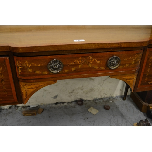 1602 - Edwardian mahogany, crossbanded and marquetry inlaid semi bow fronted dressing table /side table wit...