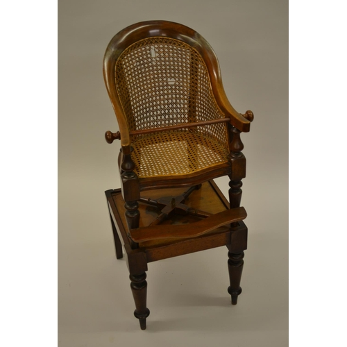 1605 - 19th Century child's tub shaped high chair with caned back and seat, mounted on detachable stand wit...