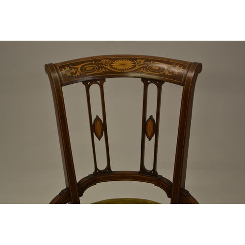 1606 - Edwardian mahogany, boxwood, marquetry and line inlaid adjustable seat music chair with pierced spla...