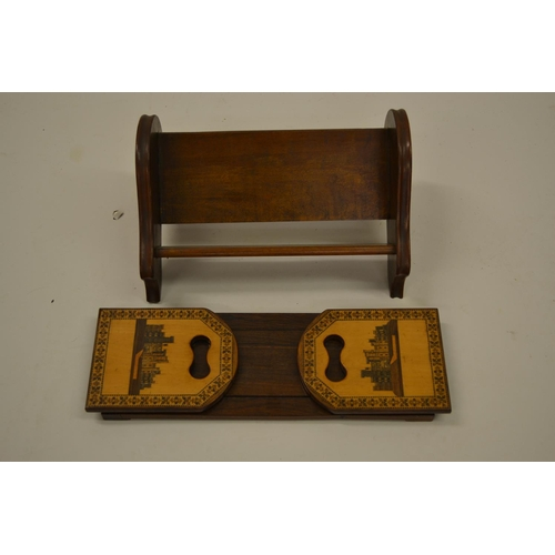 1612 - 19th Century Tunbridge ware rosewood adjustable book rack together with a small mahogany book rack...
