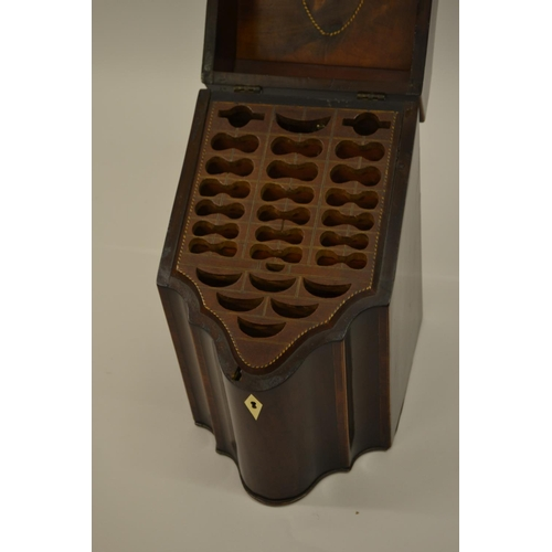 1613 - George III mahogany shell inlaid and crossbanded knife box with fitted interior...