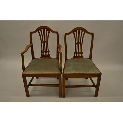 1614 - Set of eight (six plus two) George III provincial mahogany dining chairs with pierced splat backs, d...
