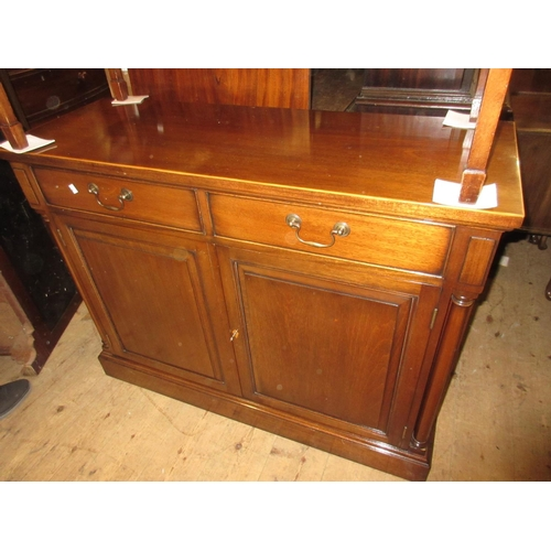 1615 - Good quality reproduction mahogany side cabinet with a boxwood line inlaid top above two drawers and...