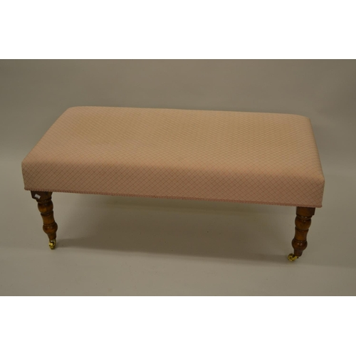 1616 - Rectangular upholstered stool on turned mahogany supports in Victorian style...