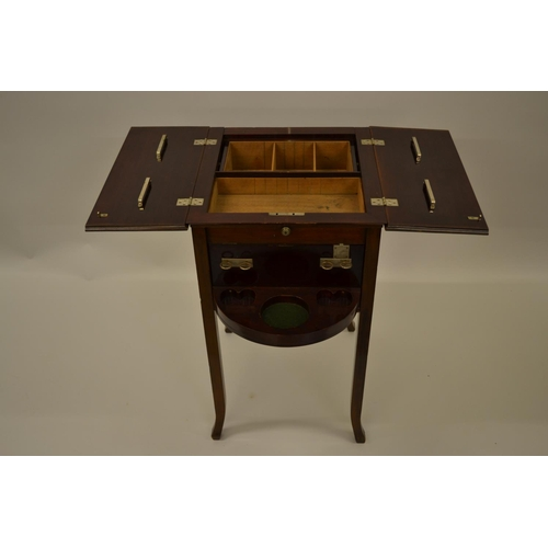1617 - Early 20th Century mahogany work table with a bi-fold top together with a small mahogany bow fronted...