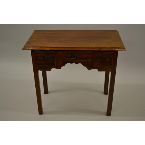 1619 - Mahogany lowboy with a moulded top above three drawers, a shaped frieze and square moulded supports...