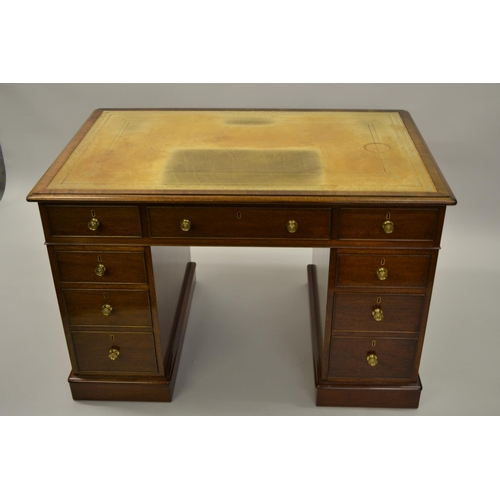 1624 - William Tillman, small good quality reproduction mahogany twin pedestal desk with a leather inset to...