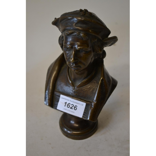 1626 - Small late 19th or early 20th Century dark patinated bronze bust of Sir Thomas More, with an integra...