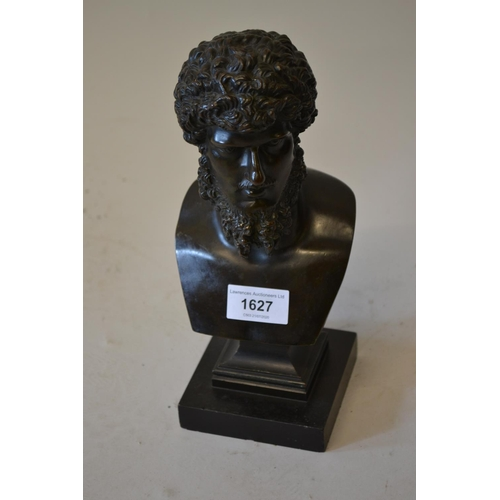 1627 - 19th Century dark patinated head and shoulder bust of Hercules on a black slate plinth, unsigned, 9....