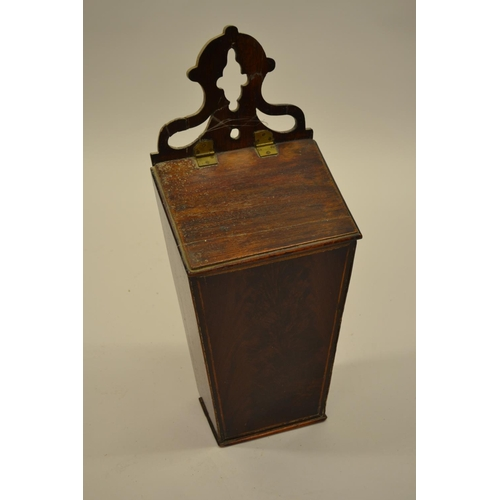 1631 - 19th Century flame mahogany and line inlaid candle or salt box, the pierced shaped surmount above a ...