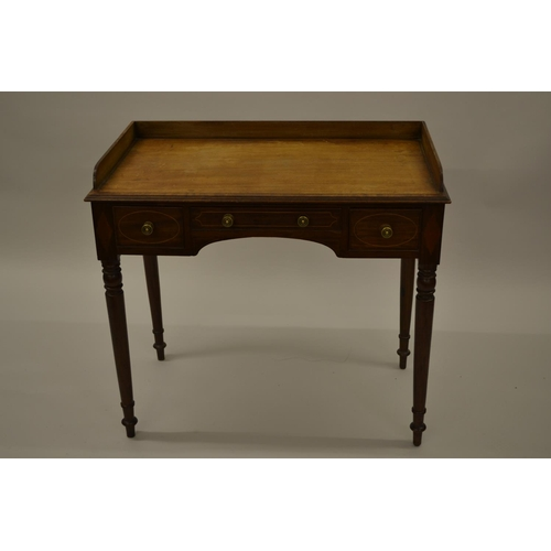 1645 - George III mahogany crossbanded and line inlaid washstand, the low gallery back above three drawers ...