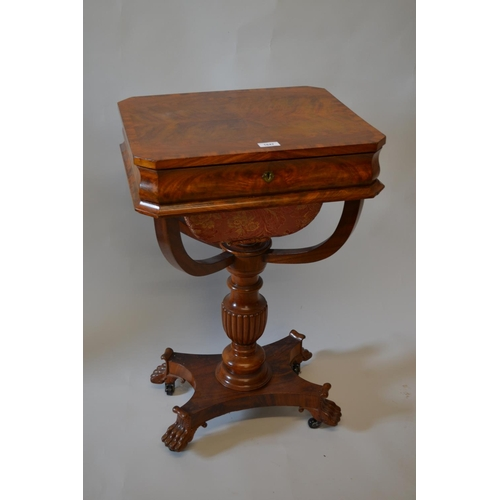 1647 - 19th Century mahogany work table, the crossbanded hinged top above a shaped frieze and wool bag, rai...