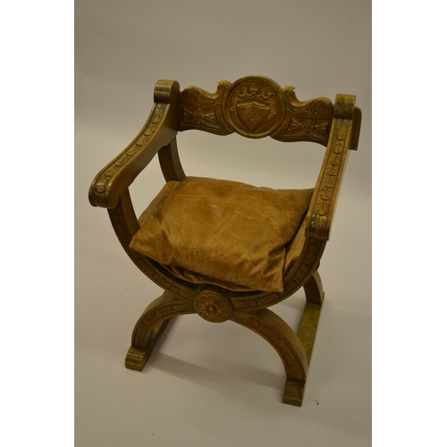 1650 - Reproduction oak Hamlet type chair with leather seat...