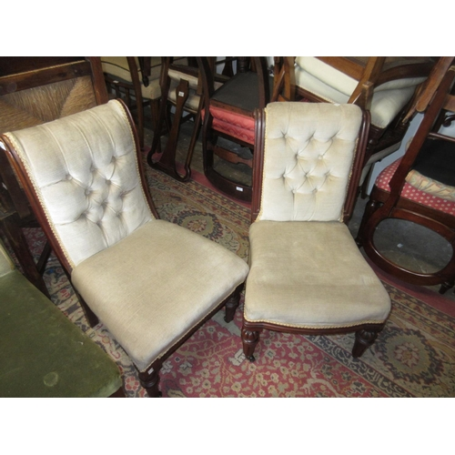 1651 - Near pair of 19th Century mahogany button upholstered nursing chairs on turned front supports...