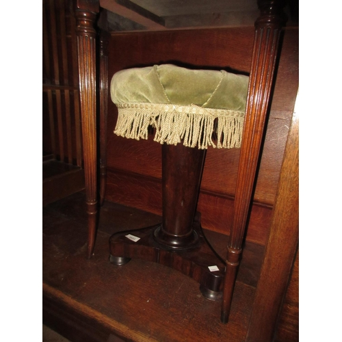 1653 - Victorian rosewood adjustable seat piano stool on turned tapering column and tripod support...
