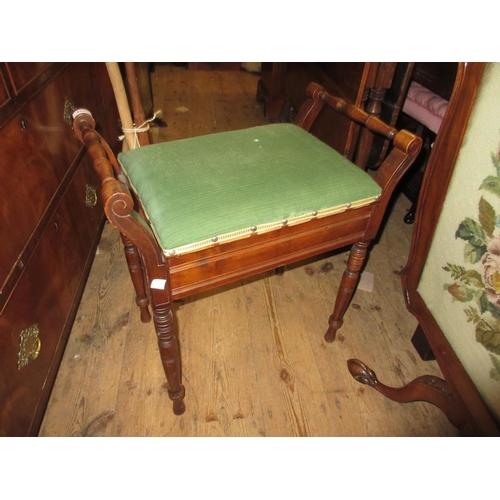 1654 - Edwardian beechwood box seat piano stool on turned supports...