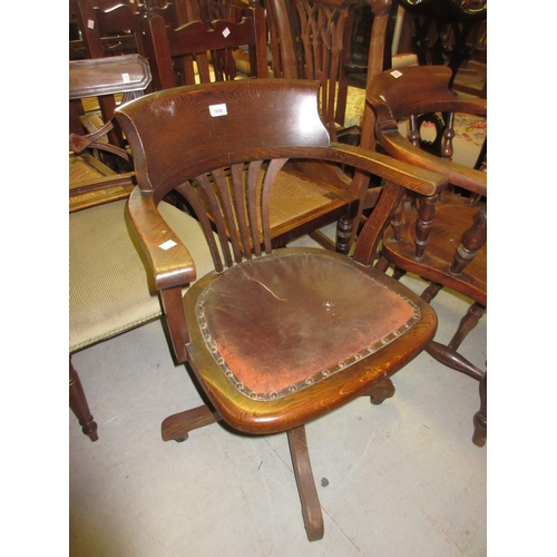 1658 - Early 20th Century oak tub shaped adjustable seat office chair...
