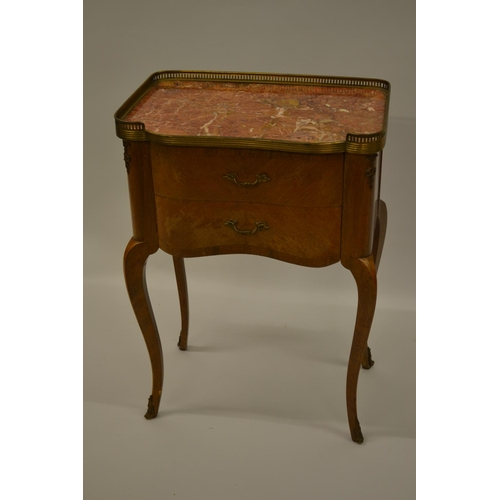 1660 - 20th Century French side table, the rouge marble top with a gilt brass gallery above two drawers on ...