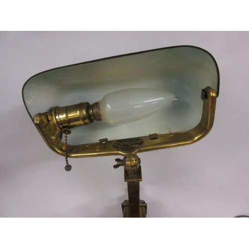 1661 - Emeralite, early 20th Century gilt brass Bankers lamp with green glass shade...