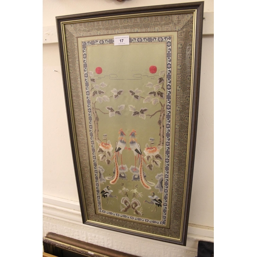 17 - Chinese silk picture embroidered with birds in landscape, framed...