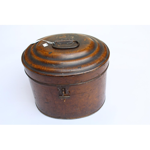 18 - 19th Century tin plate oval hat box...