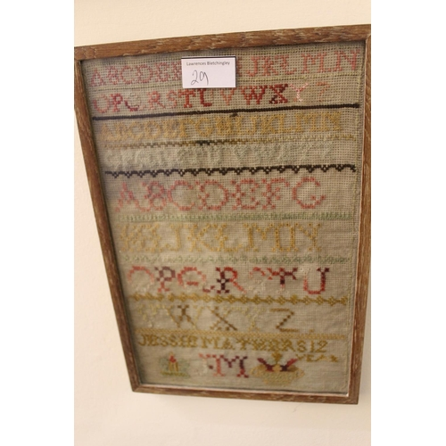 29 - Chinese silk embroidered sleeve panel, gilt framed together with a small 19th Century sampler...