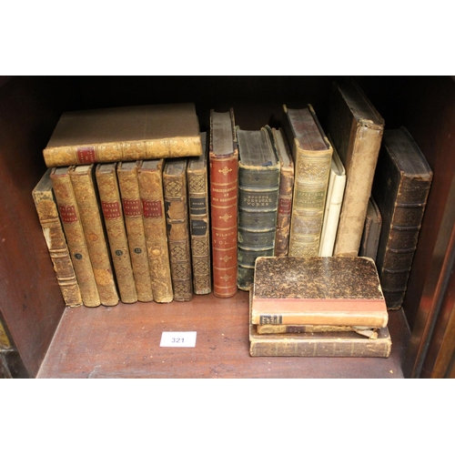 321 - Quantity of various 19th Century leather bound volumes, including five volumes ' Tales of the Castle...