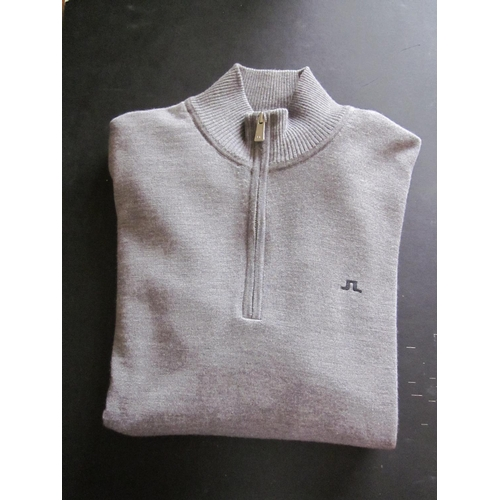 35 - Gents J. Lindeberg golf pullover, grey merino wool with 1/4 zip, XL, together with two other gents J...