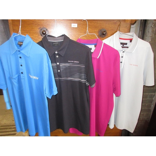36 - Four gents golf polo T-shirts - two Galvin Green and two Ted Baker, various colours, L / XL...