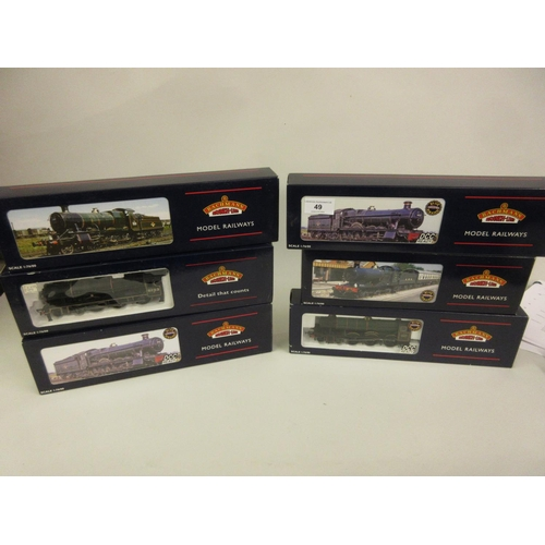 49 - Group of six Bachmann 00 gauge model locomotives, 4936 ' Kinlet Hall ', Great Western (32-003), Coll...