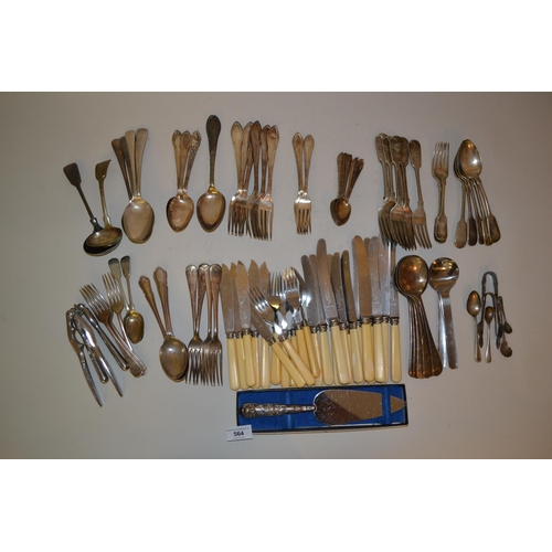 564 - Quantity of various silver plated flatware, together with a cake slice with silver handle...