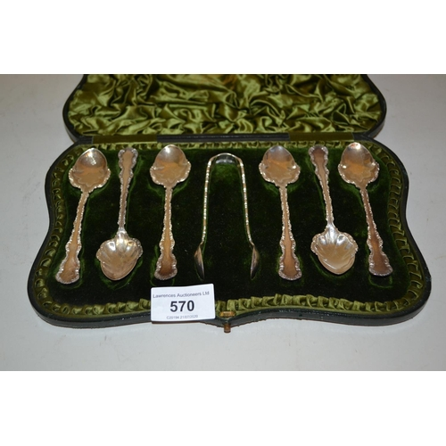 570 - Cased set of six late Victorian Sheffield silver teaspoons with tongs, 1896...