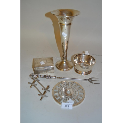 575 - Birmingham silver spill vase, silver sugar basin, pair of silver knife rests, a silver mounted glass...
