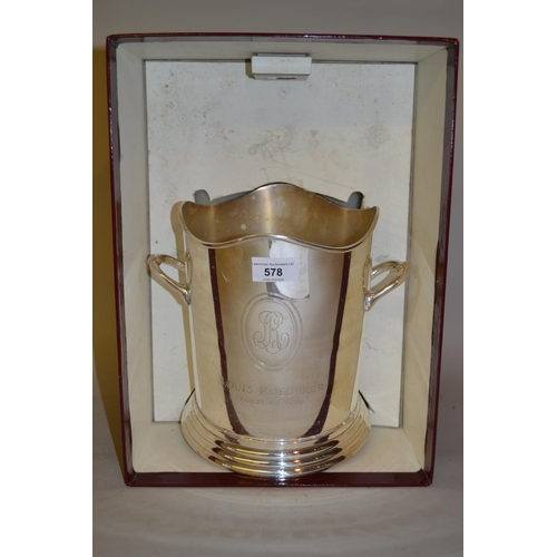 578 - Large modern silver plated champagne bucket by Louis Roederer in original box...