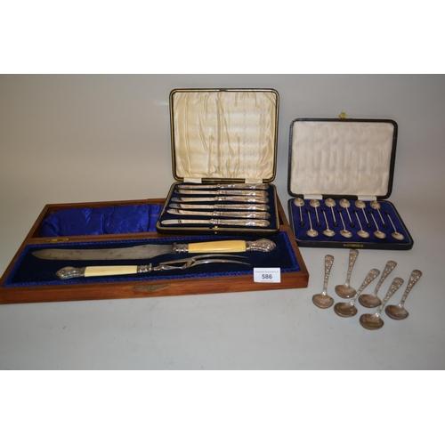 586 - Cased set of twelve Sheffield silver bean handled coffee spoons, cased set of six silver handled tea...