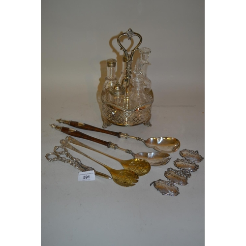 591 - Silver plated five bottle condiment stand, set of four plated decanter labels, pair of Continental s...