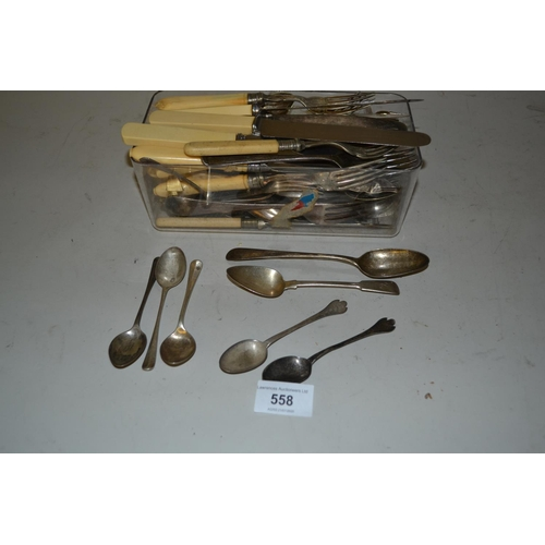 558 - Pair of silver dog nose teaspoons, five other silver spoons, together with a quantity of plated flat...