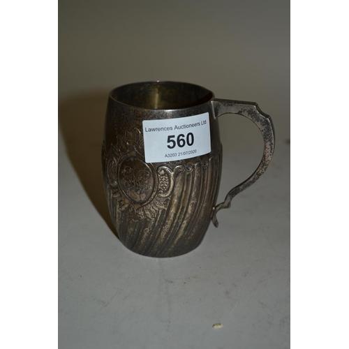 560 - Victorian silver Christening mug of half fluted design...