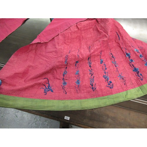 34 - Chinese silk embroidered skirt together with a Chinese silk embroidered shawl and miscellaneous item...