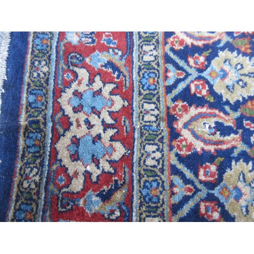 1 - Large Tabriz carpet of unusual five panel Herati and medallion design on a midnight blue ground with...