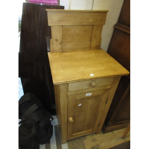 1603 - 19th Century Continental stripped pine bedside cabinet with a single drawer above panelled door...
