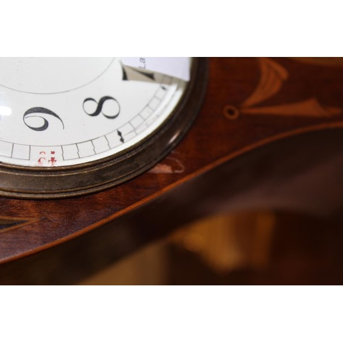 1103 - Edwardian mahogany and marquetry inlaid mantel clock of stylised Art Nouveau design, the circular en...