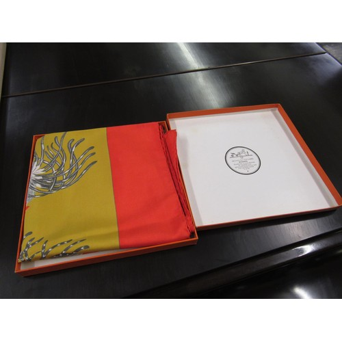 38 - Ladies Hermes silk scarf decorated with cockerels in original box...