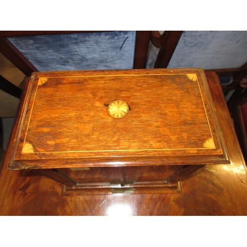 1611 - Edwardian oak shell and line inlaid smokers cabinet / tantalus...