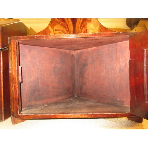 1637 - Small 19th Century poker work hanging corner cabinet with open shelves and a single panelled door...