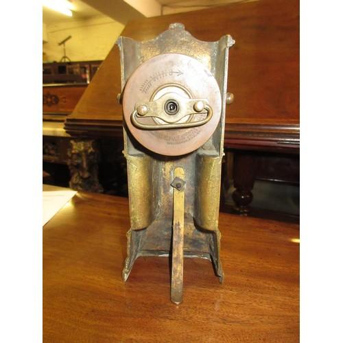 1138 - Miniature cast brass longcase clock...