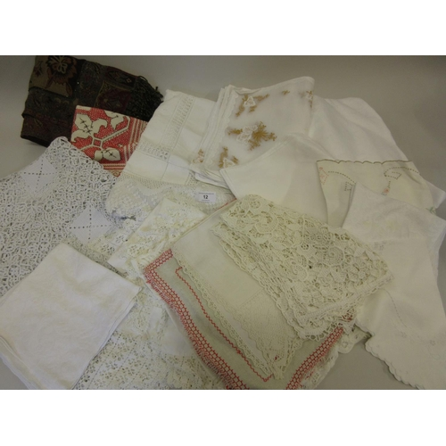 12 - Small quantity of various table linen and a modern beaded wrap...
